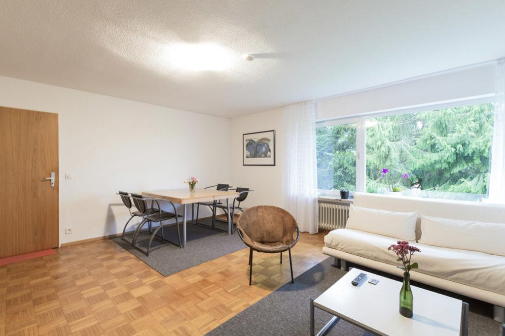 Schönes großes Wohnzimmer mit Esstisch und viel Platz